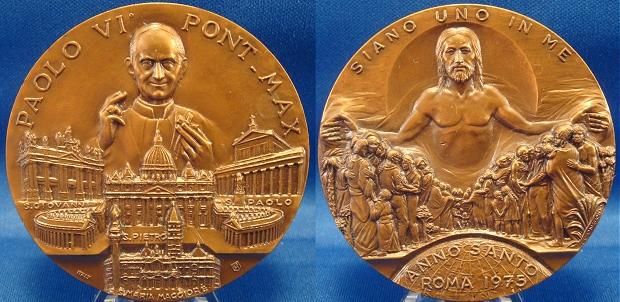 Paul VI 1975 Holy Year Ae Medal 60mm Photo