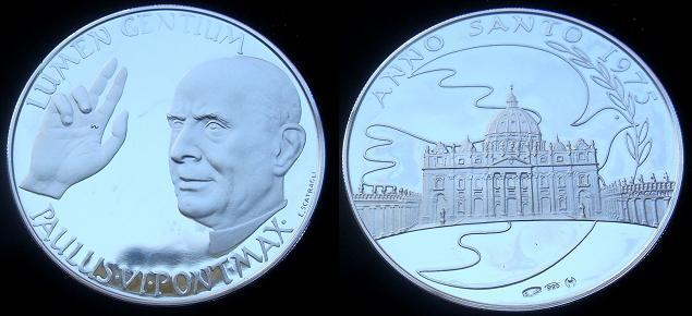 Paul VI 1975 S. Peter's Basilica Silver Proof Photo