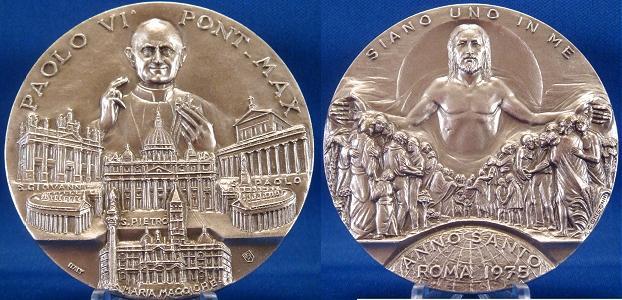 Paul VI 1975 Holy Year Medal 60mm Photo