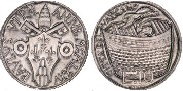 1975 Holy Year 10 Lire NOAH'S ARK Coin Photo