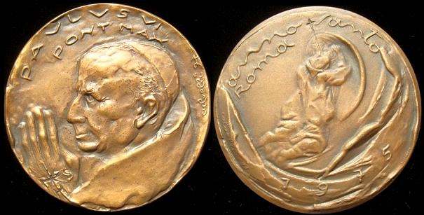 Paul VI 1975 Holy Year Bronze Medal 60mm Photo