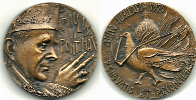 1975 Paul VI Holy Year Medal 50mm Photo