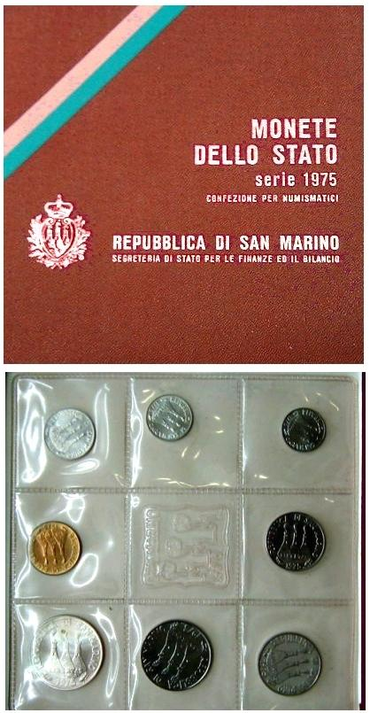1975 San Marino Mint Set, 8 Coins B/U Photo
