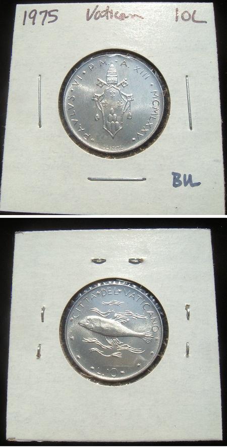 1975 Vatican 10 Lire Coin BU Photo