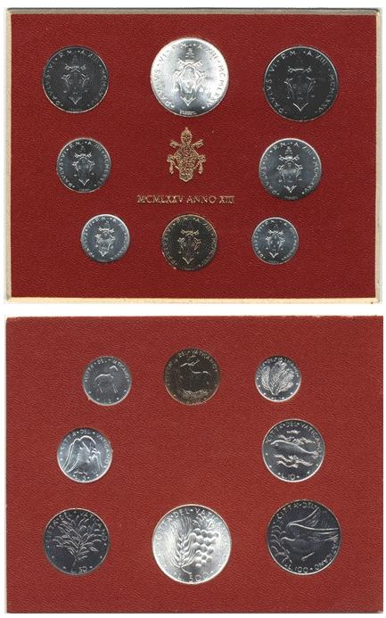 1975 Vatican Mint Coin Set, 8 Coins BU Photo