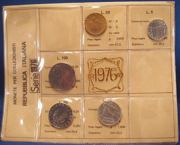 1976 Italy Coin Set, 5 Coins B/U Photo