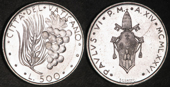 1976 Vatican 500 Lire Silver Coin UNC Photo