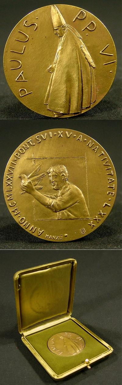 Paul VI 1977 Bronze Medal 80th Birthday Photo
