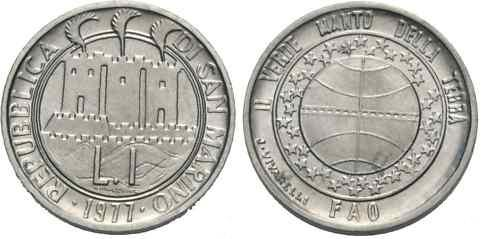 1977 San Marino 1 Lira FAO Coin Photo