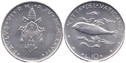 1977 Vatican 10 Lire Coin B/U Photo