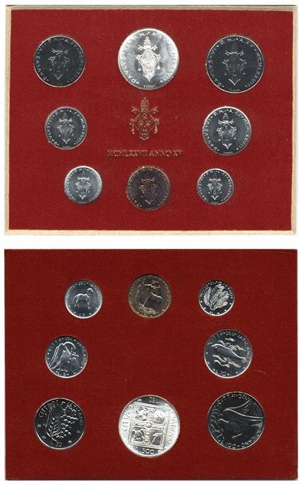 1977 Vatican Mint Coin Set, 8 Coins BU Photo