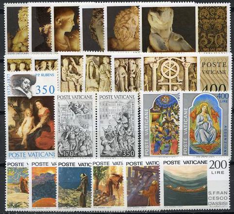 Vatican 1977 Stamp Year Set #607-29 Photo