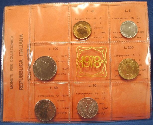 1978 Italy Coin Set, 6 Coins B/U Photo
