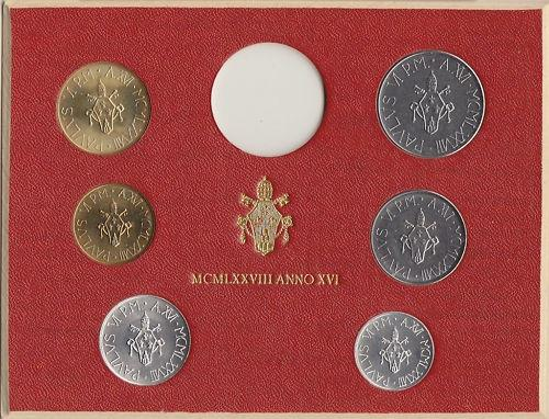 1978 Vatican Coin Set, Sans Silver 6 Coins BU Photo