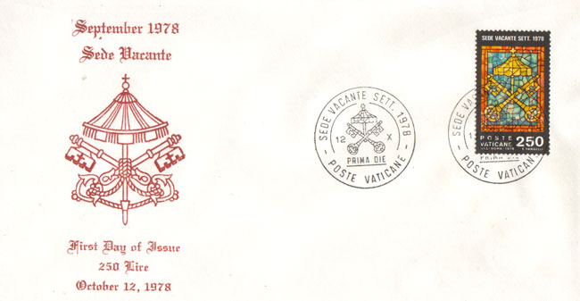 September 1978 Sede Vacante First Day Cover Photo
