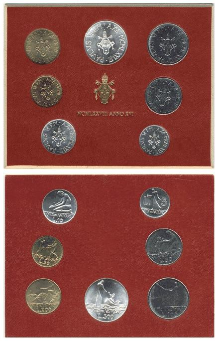 1978 Vatican Mint Coin Set, 7 Coins BU Photo