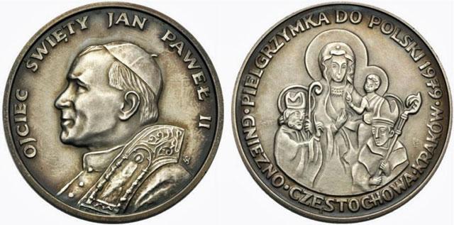 John Paul II 1979 Trip to Poland Silver Medal Photo