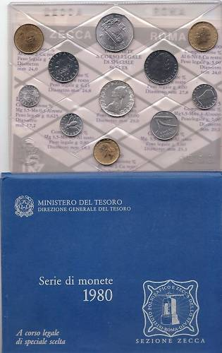 1980 Italy Full Mint Coin Set + Token BU Photo