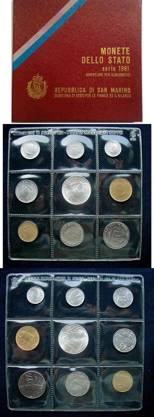 1981 San Marino Mint Coin Set, 9 Coins BU Photo