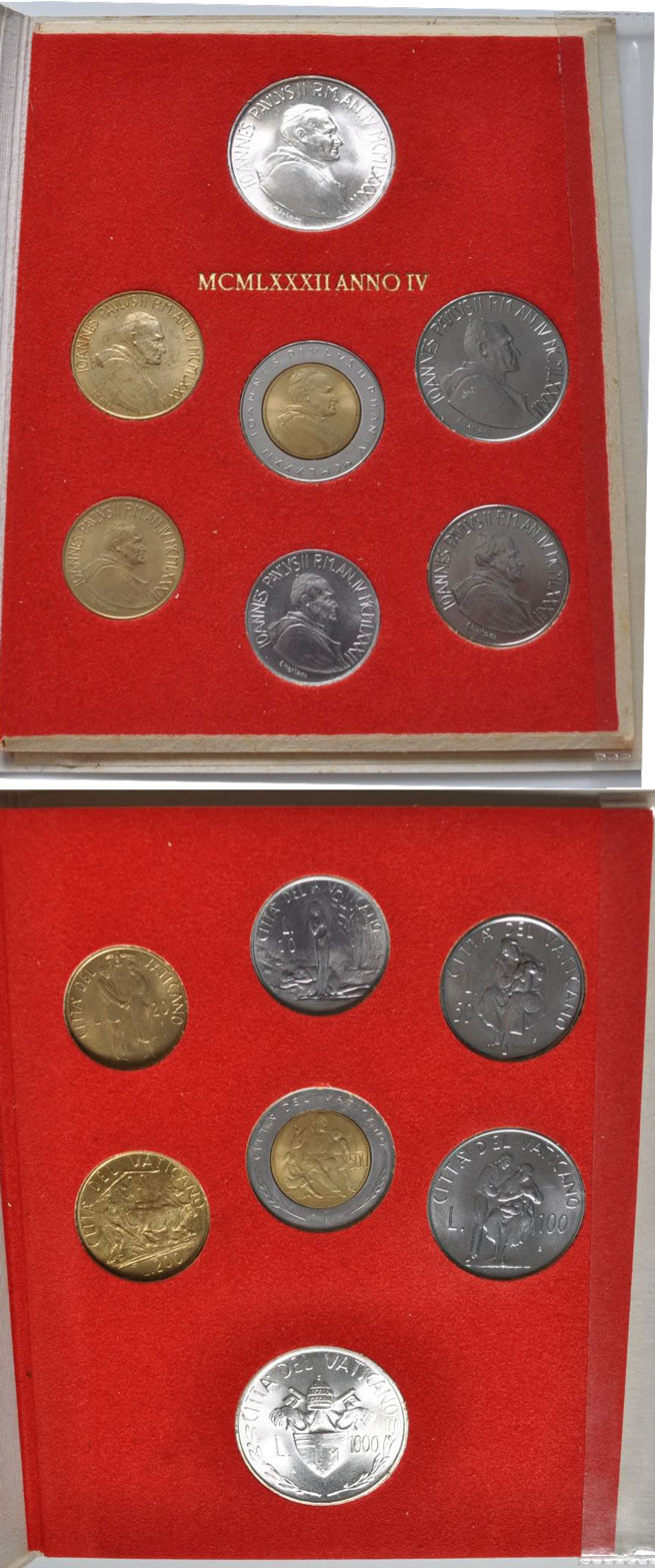 1982 Vatican Mint Coin Set, 7 Coins BU Photo
