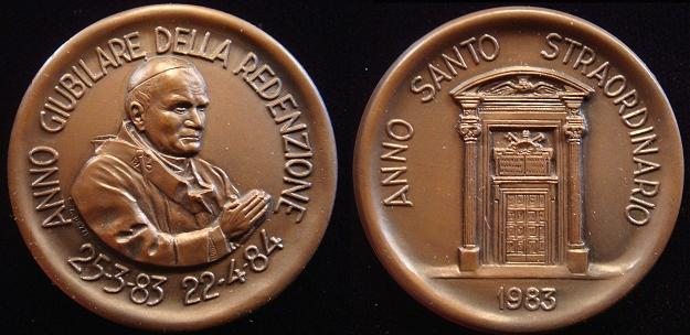 John Paul II 1983-84 Holy Door Medal 37mm Photo