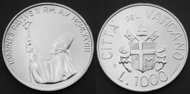 1983 Vatican 1000 Lire Silver Coin B/U Photo