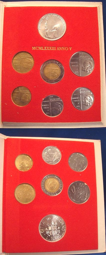 1983 Vatican Coin Set, 7 Coins CREATION Photo