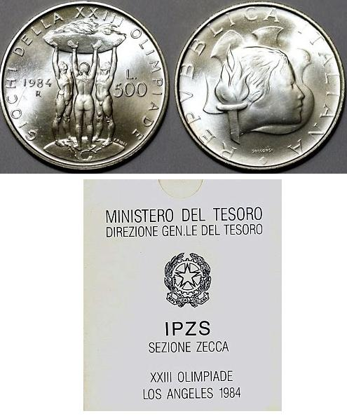 1984 Italy 500 Lire Olympics Los Angeles Photo