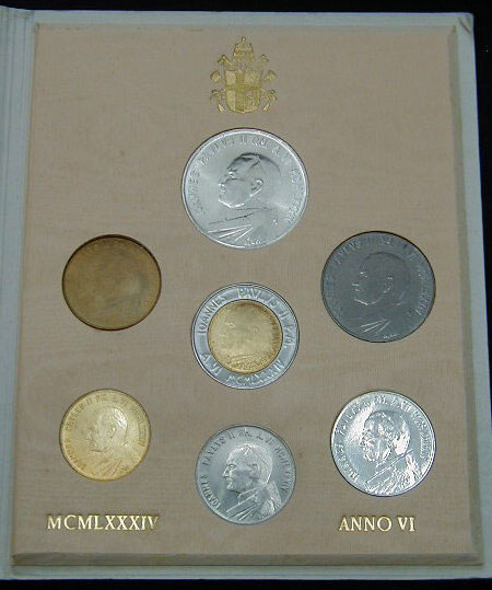 1984 Vatican Coin Set, 7 Coins B/U Photo