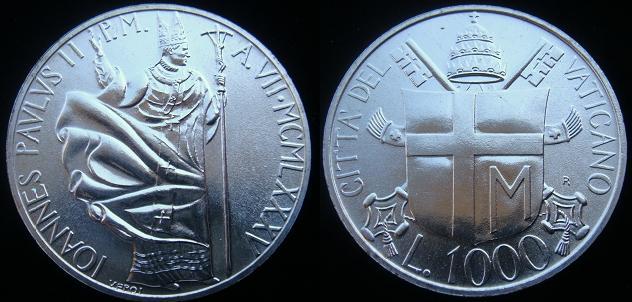 1985 Vatican 1000 Lire Silver Coin B/U Photo