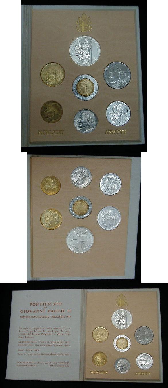 1985 Vatican Mint Set, 7 Coins B/U Photo