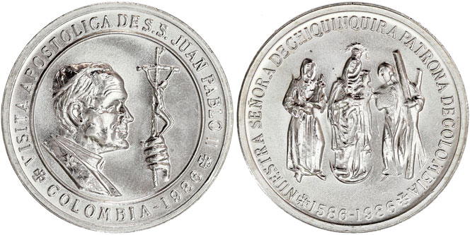 Colombia Medal 1986 Visit of John Paul II Photo