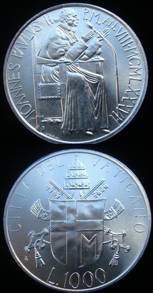 1986 Vatican 1000 Lire Silver Coin B/U Photo