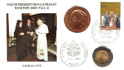 1987 Visit Ronald Reagan-John Paul II Coin Cover Photo