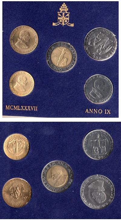 1987 Vatican Set of 5 Coins Photo