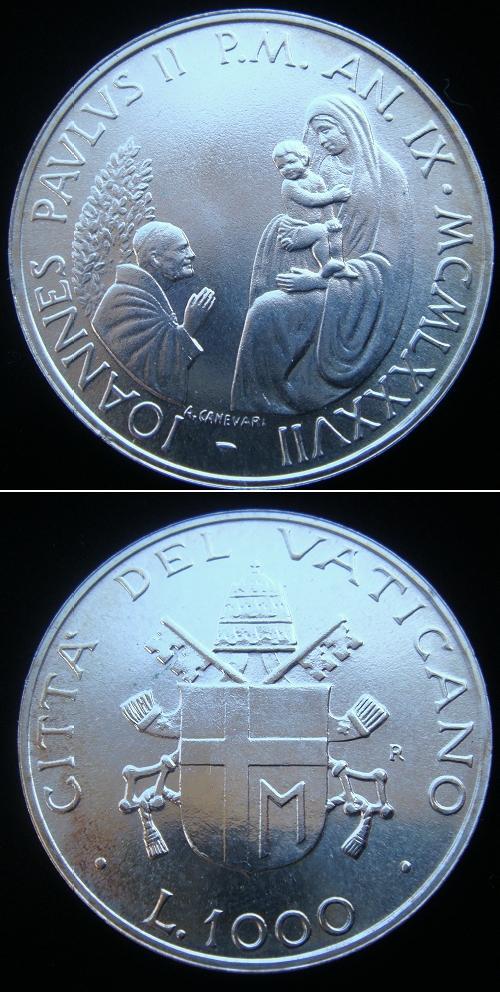 1987 Vatican 1000 Lire Silver Coin B/U Photo