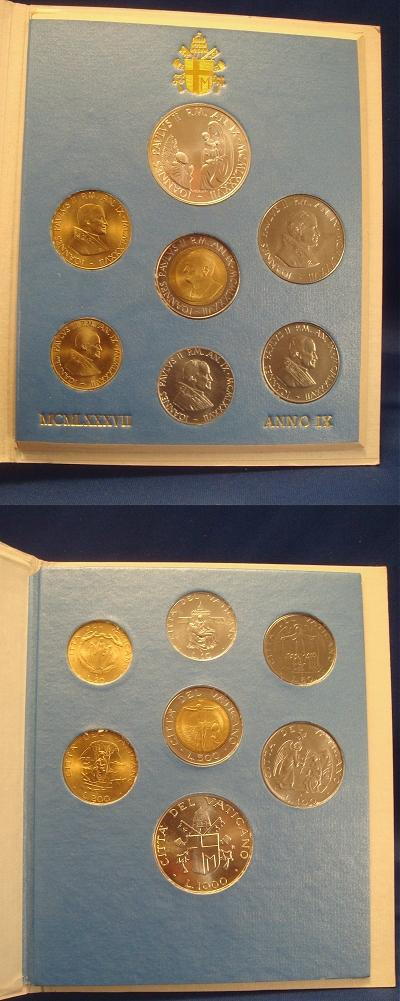 1987 Vatican Coin Set, 7 Coins MARIAN YEAR Photo