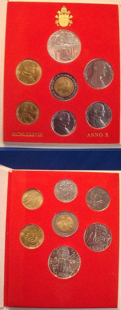 1988 Vatican Coin Set, 7 Coins ADAM & EVE Photo