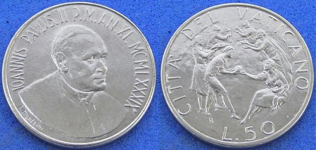 1989 Vatican 50 Lire Coin B/U Photo