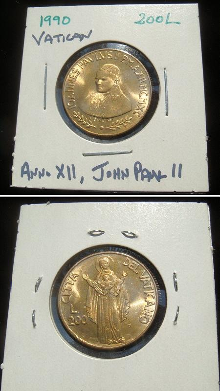 1990 Vatican 200 Lire Madonna del Segno Coin Photo