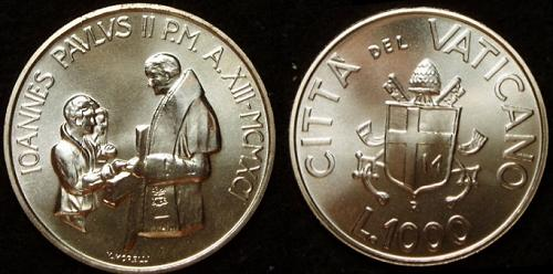 1991 Vatican 1000 Lire Silver Coin B/U Photo