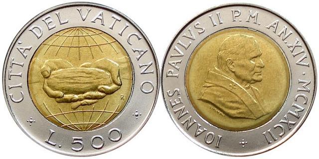 1992 Vatican 500 Lire Bimetal Coin Photo