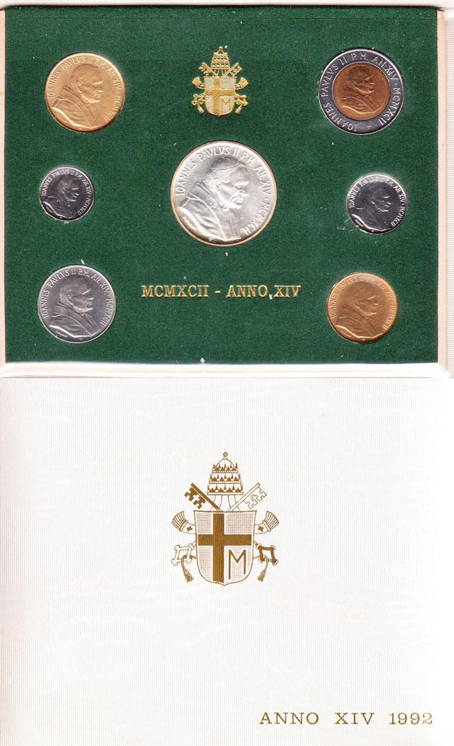1992 Vatican Coin Set, 7 Coins B/U Photo