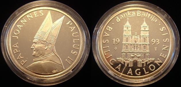 John Paul II 1993 Latvia Aglona Basilica Medal 14k Photo