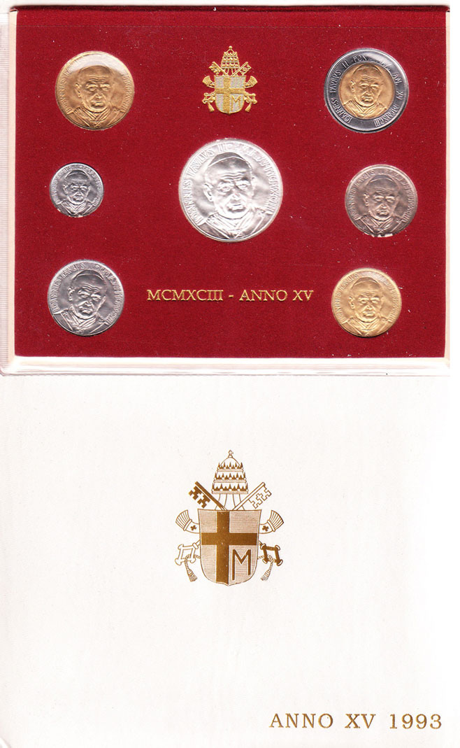 1993 Vatican Coin Set, 7 Coins B/U Photo