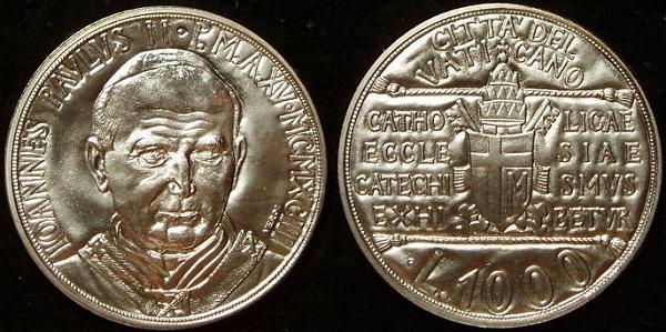 1993 Vatican 1000 Lire Silver Coin B/U Photo
