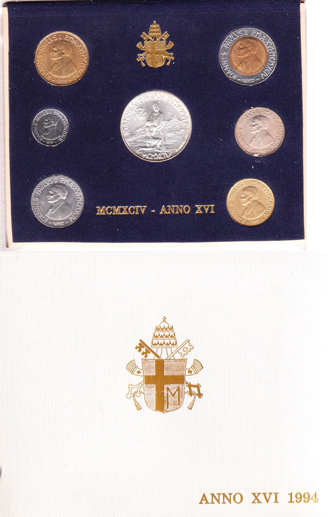 1994 Vatican Coin Set, 7 Coins B/U Photo