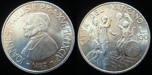 1994 Vatican 100 Lire Coin B/U Photo
