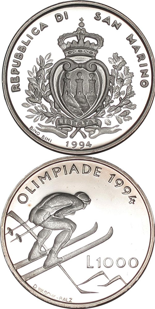 San Marino 1994 Winter Olympics Coin Photo