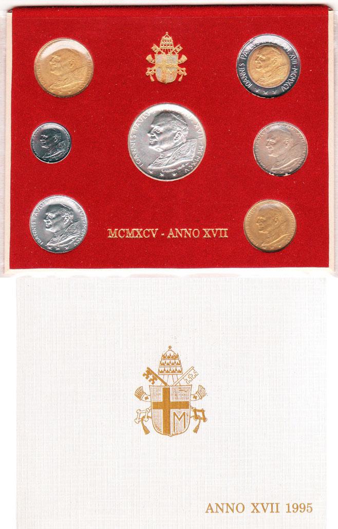 1995 Vatican 7 Coin Set EVANGELIUM VITAE Photo